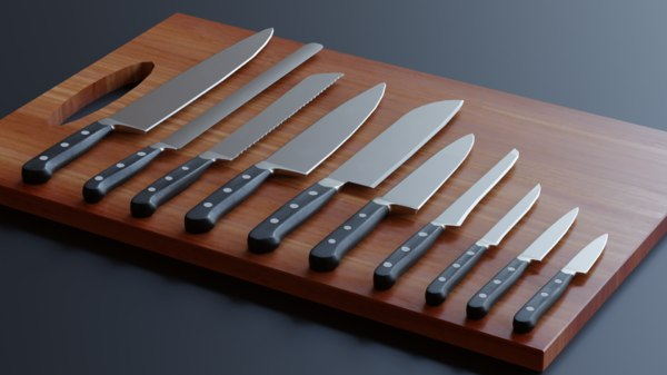 3D kitchen knifes pack