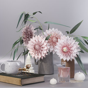 vase dahlia flower bouquet 3D model