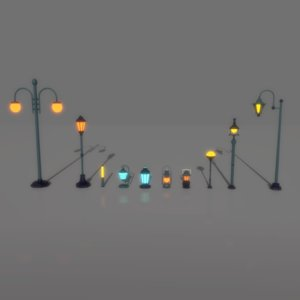 3D lantern lamp pack model