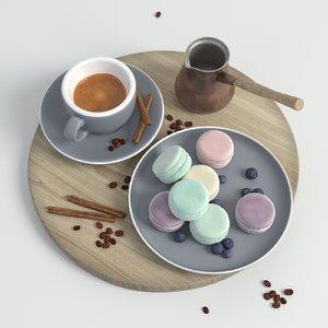 3D model coffee set