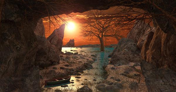 environment sunset river 3D model