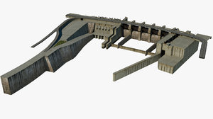 river dam lock 3 3D model