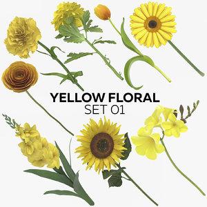 yellow floral set 01 3D model