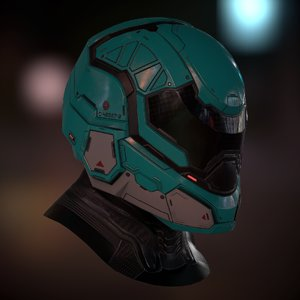 3D model futuristic soldier helmet