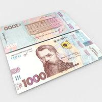 3D model 1000 hryvnias