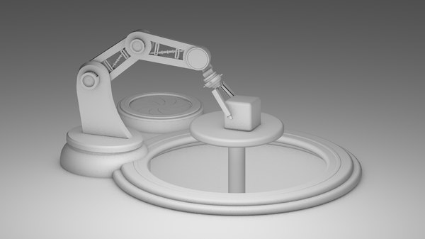 3D robot arm rigged animation model