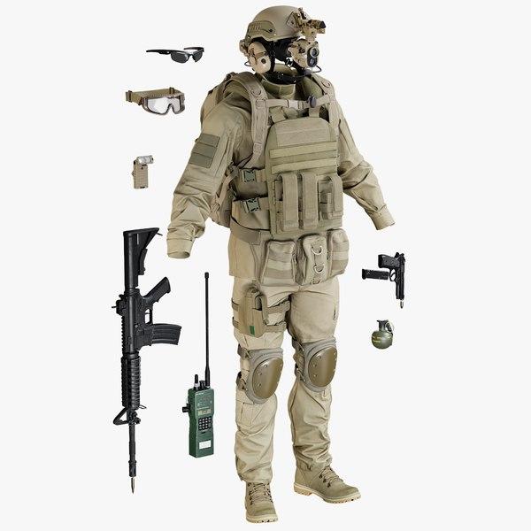 3D realistic uniform desert equipment model