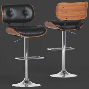 flash furniture walnut barstool 3D