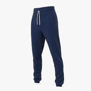 3D sport pants blue model