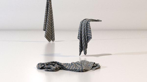 3D model rag cloth towel
