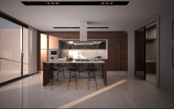 3D kitchen living room doorway