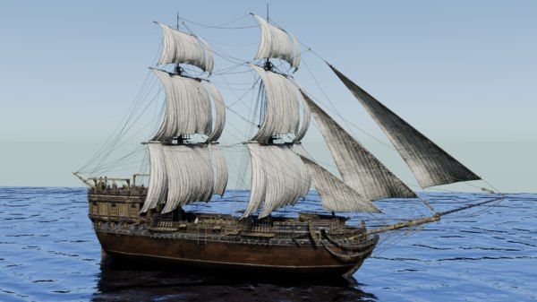 18th sailing vessel ship 3D model