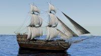 18th sailing vessel ship 3D model