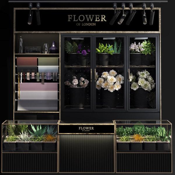 shop display refrigerated flower 3D model