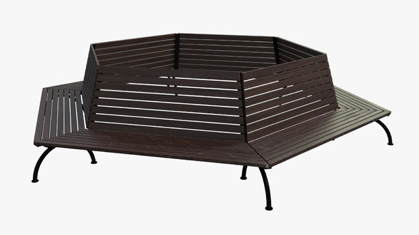 3D wooden bench - model