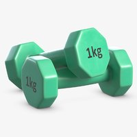 plastic dumbbells 1 kg 3D model