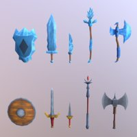 hand painted weapons 3D model
