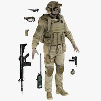 Soldier Uniform Desert With Equipment
