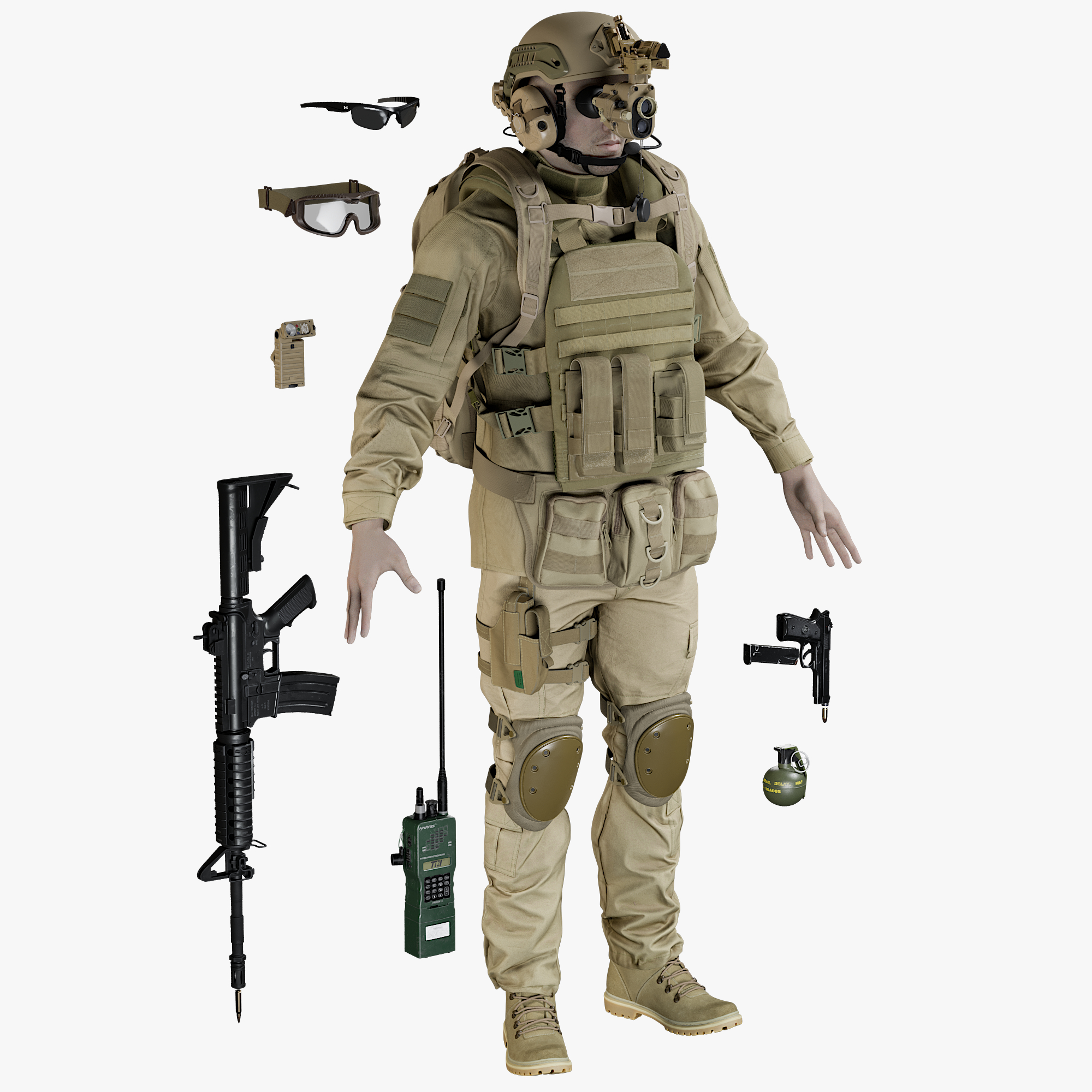 3D realistic soldier uniform desert model