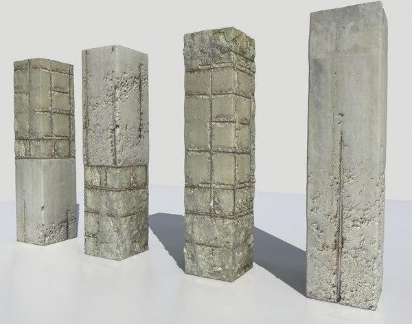 3D damaged pillars metalness model