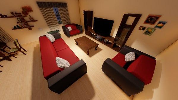 3D indoors salon decor model