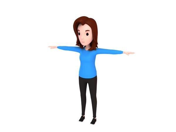 girl character cartoon 3D model