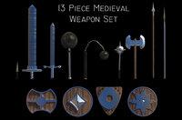 13 Piece Medieval Weapon / Shield Set