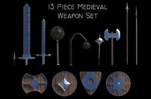 3D 13 piece medieval weapon