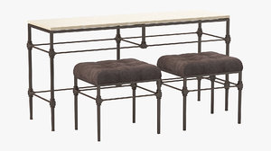 grayson bench table bernhardt 3D model