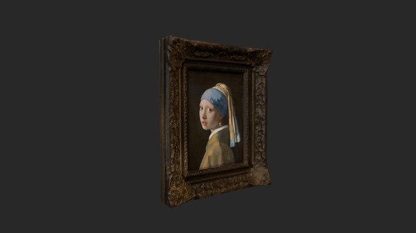 girl pearl earring 3D