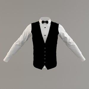 3D man suite tuxedo pleated