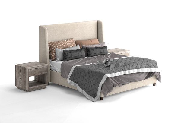 belmont fabric bed 3D model