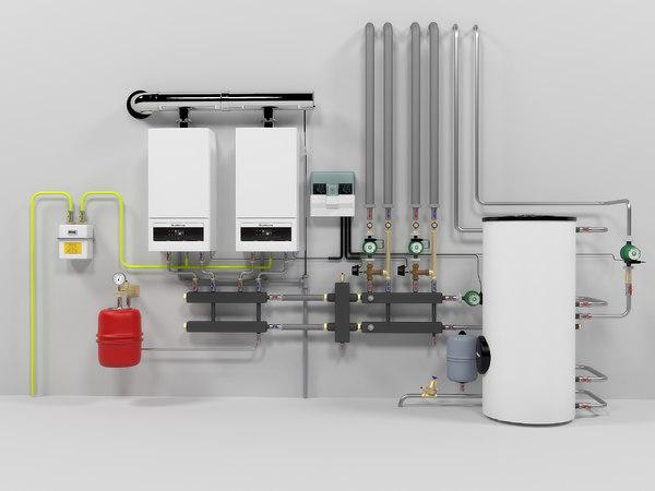 3D model buderus gb062-24 cascade heating