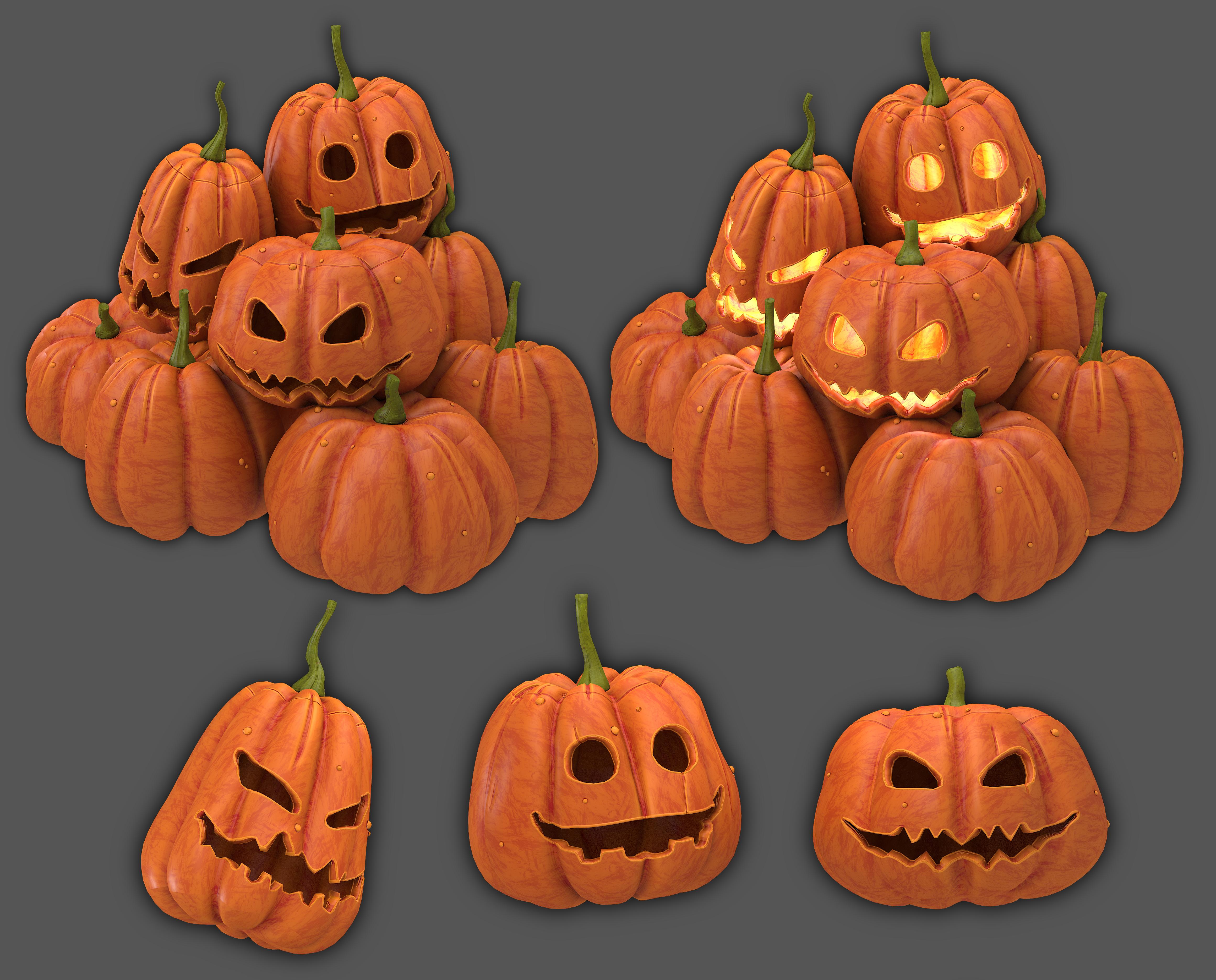 Halloween Pumpkins Low Poly 3d Model Turbosquid 1450694