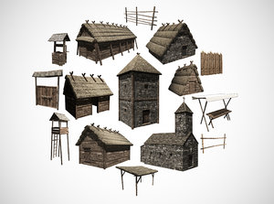 3D model early medieval building house