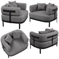 baxter belt armchair 3D
