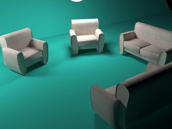living room sofa 3D