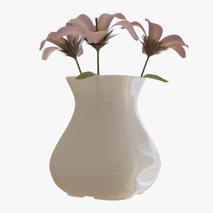 3D model opened flower vase