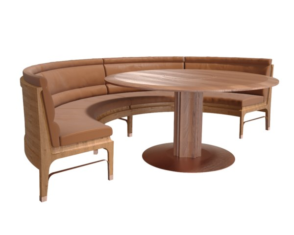 restaurant rounded leather sofa 3D