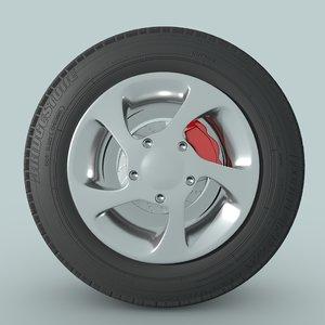 3D model car wheel disk break