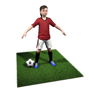 girl soccer player rigged 3D model