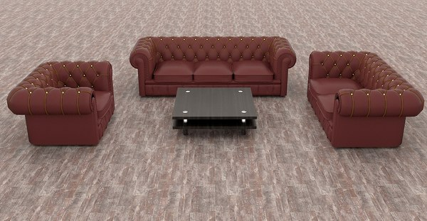 leather seating offices interior 3D model