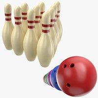 3D real bowling balls pins model