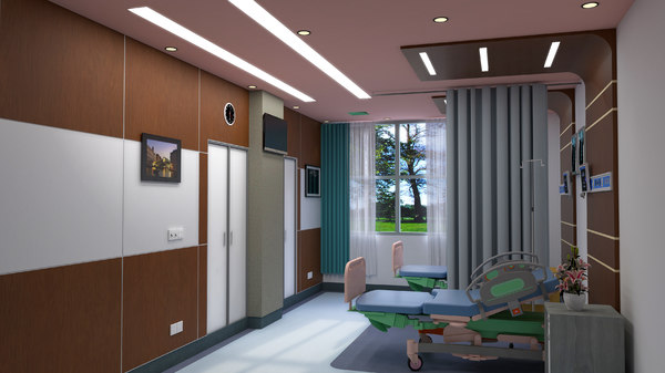 3D 2-bed room hospital