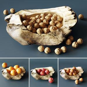 decorative bowl walnuts fruits 3D