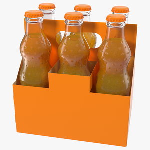 orange soda glass bottle 3D