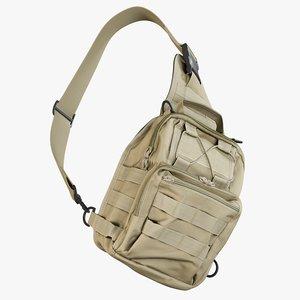 realistic shoulder bag coyote 3D model