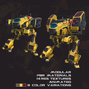 pbr modular mechs v2 3D model
