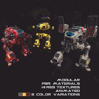 3D pbr modular mechs v1
