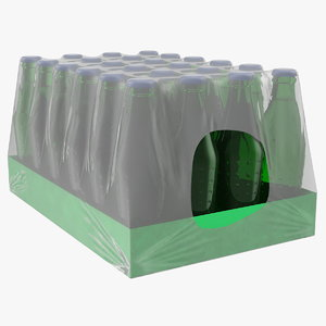 24 green soda bottle 3D